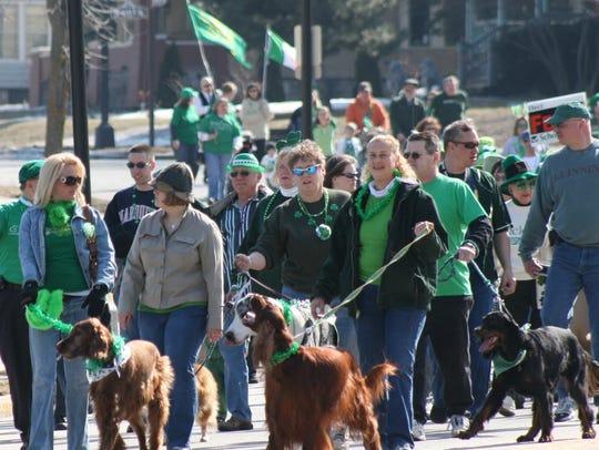 Irishman's Walk, Plymouth, walkers accompanied by their