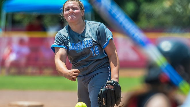 North Pike's Madison Bigner tossed a complete game to lead the Lady Jaguars in Game 1.