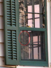 Is that the reflection of leaves on an upstairs window of the Seabrook-Wilson house? Or is it the face of a specter trapped in the Spy House? What do you want to believe?