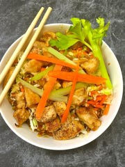 Chicken Egg Roll Bowls come in at only 256 calories a serving and are a complete light and healthy meal