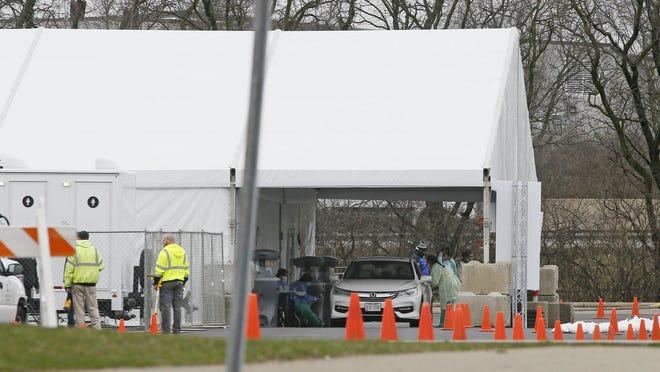 Coronavirus testing near Ohio State University.