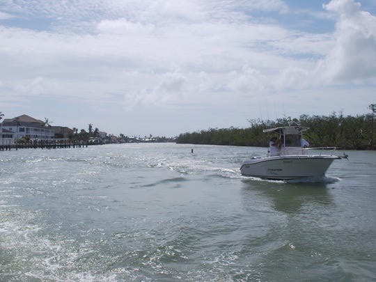 The ever-treacherous Collier Creek inlet has gained new difficulty, with not only the dock but the seawall and entire point at Villa de Marco collapsed into the waterway.
