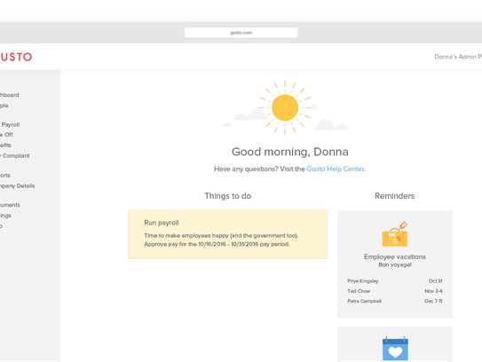 Gusto, an all-in-one human resources application enables