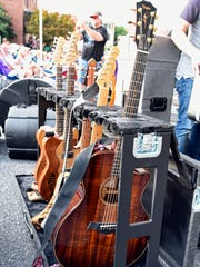 Guitars line up at the 2015 Shenandoah Valley Blues