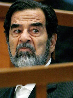 Saddam Hussein in court in 2006.  The former Iraqi dictator was hanged at age 69 after an Iraqi trial.