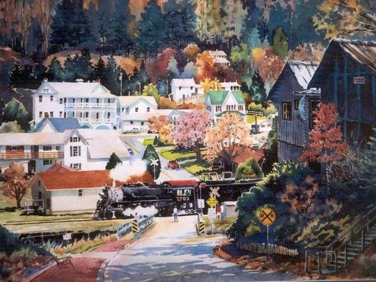 A painting of Dillsboro shows the downtown in autumn.