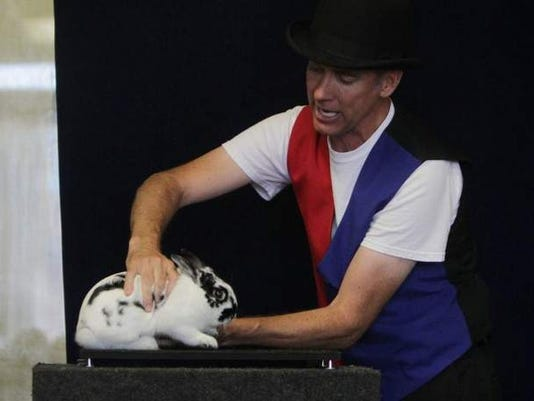 Marty Hahne and his rabbit