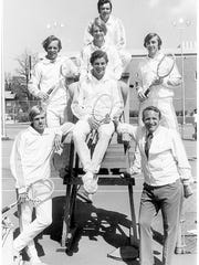 The Tennessee men's team in 1972 included, left, Scott LeTellier, Marc Bolle, center, Robert Van Malder, Bob Peirce, Paul Van Min, right, Dan Huber, coach Louis Royal.