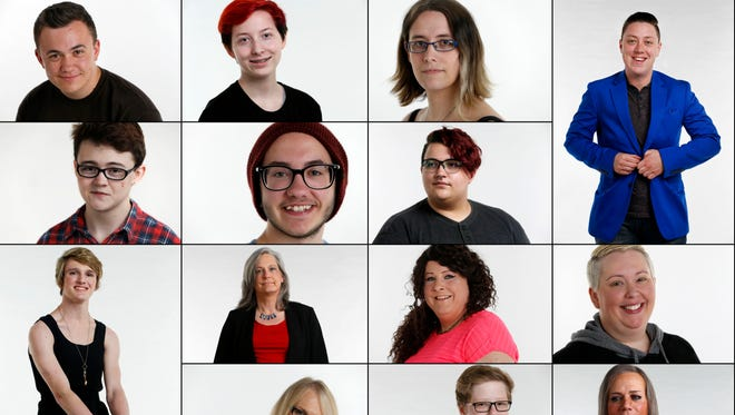 Faces of the transgender community in Iowa include Sean Finn (top row, from left), Seb Hamilton, Sophia Stone, Jack Schuler, Finbar Murphy (second row, from left), Parker Miles, Lukas Daniels, Liz Fransen (third row, from left), Jeorgia Robison, Aryanna Hulo, Candi Hulo, Renee Thomas (bottom row, from left), Greyson Davis and Robin White.