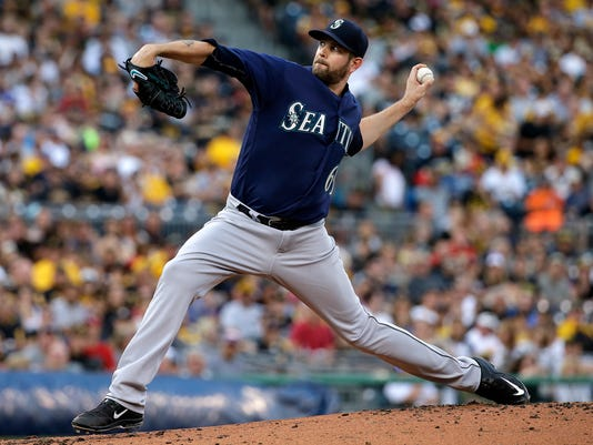 Seattle Mariners starting pitcher James Paxton throws during the first inning of a baseball game against the Pittsburgh Pirates in Pittsburgh, Wednesday, July 27, 2016. (AP Photo/Gene J. Puskar)