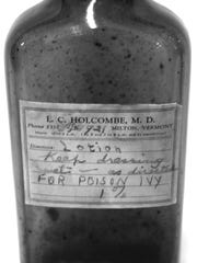 A poison ivy remedy prescribed by Dr. Luman Holcombe. The Milton Museum has a display showing tools, remedies and other relics in Milton's medical history.