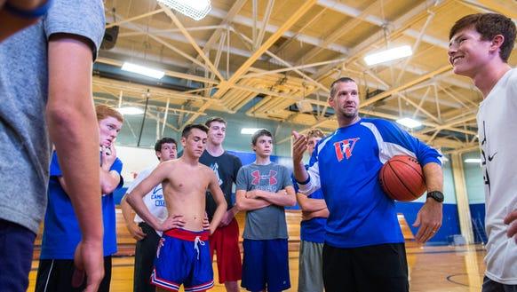 Joey Bryson, the West Henderson basketball coach, works
