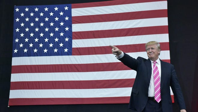 Donald Trump arrives for a rally Oct. 2 at Spooky Nook Sports center in Manheim, Pa.