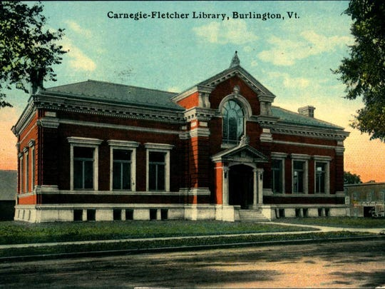 Historic postcard of the Carnegie building of the Fletcher Free Library in Burlington.