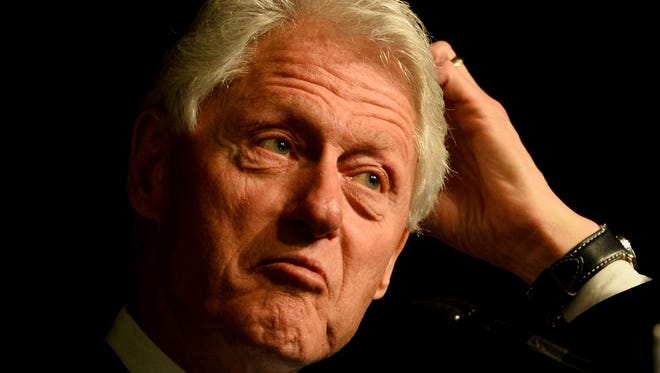 Former President Bill Clinton speaks during a campaign rally for his wife, Hillary Clinton, at a retirement center in Silver Spring, Md., on April 13.