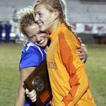 Alica Browning, left, and Sydney Hiance celebrate Highlands' 2005 state championship
