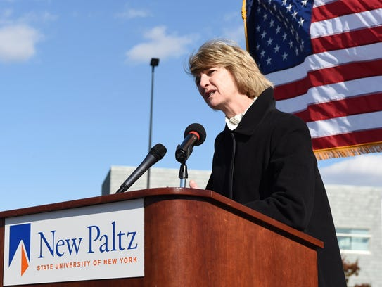 SUNY Chancellor Kristina Johnson speaks during a ceremonial
