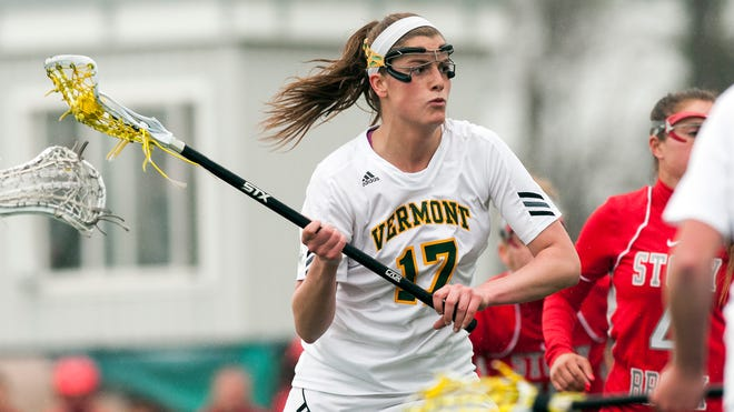 Vermont's Sydney Mas (17) shoots the ball during the women's lacrosse game between the Stony Brook Sea Wolves and the Vermont Catamounts at Virtue Field on Saturday in Burlington, Vermont.