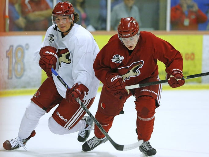 Arizona Coyotes' Jared Fiegl and Edgars Kulda battle for the puck during their Prospect Development Camp Tuesday, July 8,, 2014 at the Ice Den in Scottsdale.