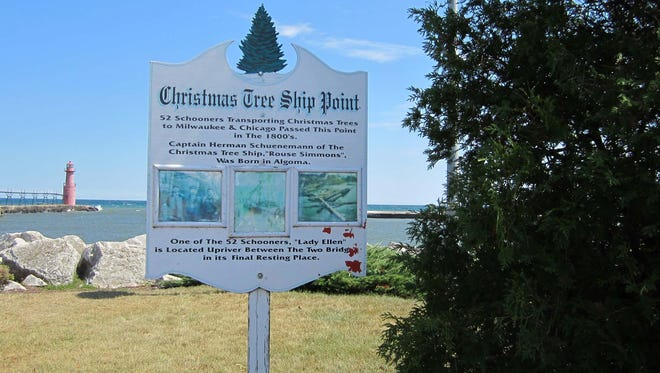 """Algoma's Christmas Tree Point serves to remind Kewaunee County of the impact it had on the Christmas tree trade in Milwaukee, Chicago and other points along southern Lake Michigan. Forty-four percent of the captains and their crews were Ahnapee/Algoma men. Including all of the Kewaunee County men boosts the percentage. That last trip in the fall, often during the storms of November, meant the difference between providing for one's family and repairs to the ships. In an era once called the golden age of sailing, shipping was not always as lucrative as it would seem, and low incomes meant rickety ships. Such was Herman Schuenemann's Rouse Simons. Going down in 1912, the ship and its """"Captain Santa"""" became famous in books, songs and musical theater. The wreck was felt to be near Rowley's Point, however it was 49 years after the Nov. 23, 1912 sinking that diver Kent Bellrichard found it while searching for another sunken ship. Two Rivers Maritime Museum has artifacts, and Algoma honors the memories of those such as Sibilsky, Henry, McDonald, Armstrong, Nelson and more, and the 52 Christmas Tree ships felt to pass the city taking Tannenbaums to the immigrants who depended on the ships. More on the Christmas Tree ships can be found in any public library."""