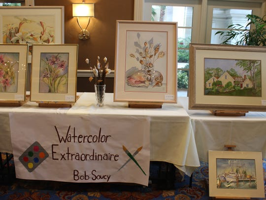 """Bob Soucy, a resident of the Terraces, shared his watercolor art during the """"Men of the Terraces"""" expo."""