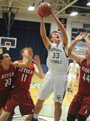 An exceptional first half by junior guard Ben Tharp sent the Knights to the locker room with a commanding lead Saturday evening as Central Catholic welcomed Attica.
