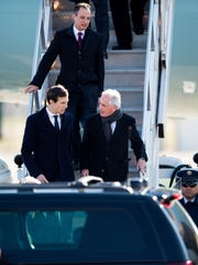 From top, White House Chief of Staff Reince Priebus, senior adviser Jared Kushner and Sen. Bob Corker leave Air Force One at Nashville International Airport on March 15, 2017.