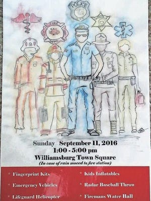 This poster advertising the upcoming Day of Remembrance, Sept. 11 in Williamsburg, was created by Williamsburg High School student Abby Tindal.