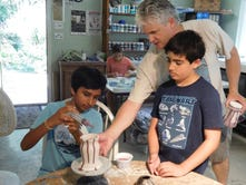 Campers take a spin at the pottery wheel