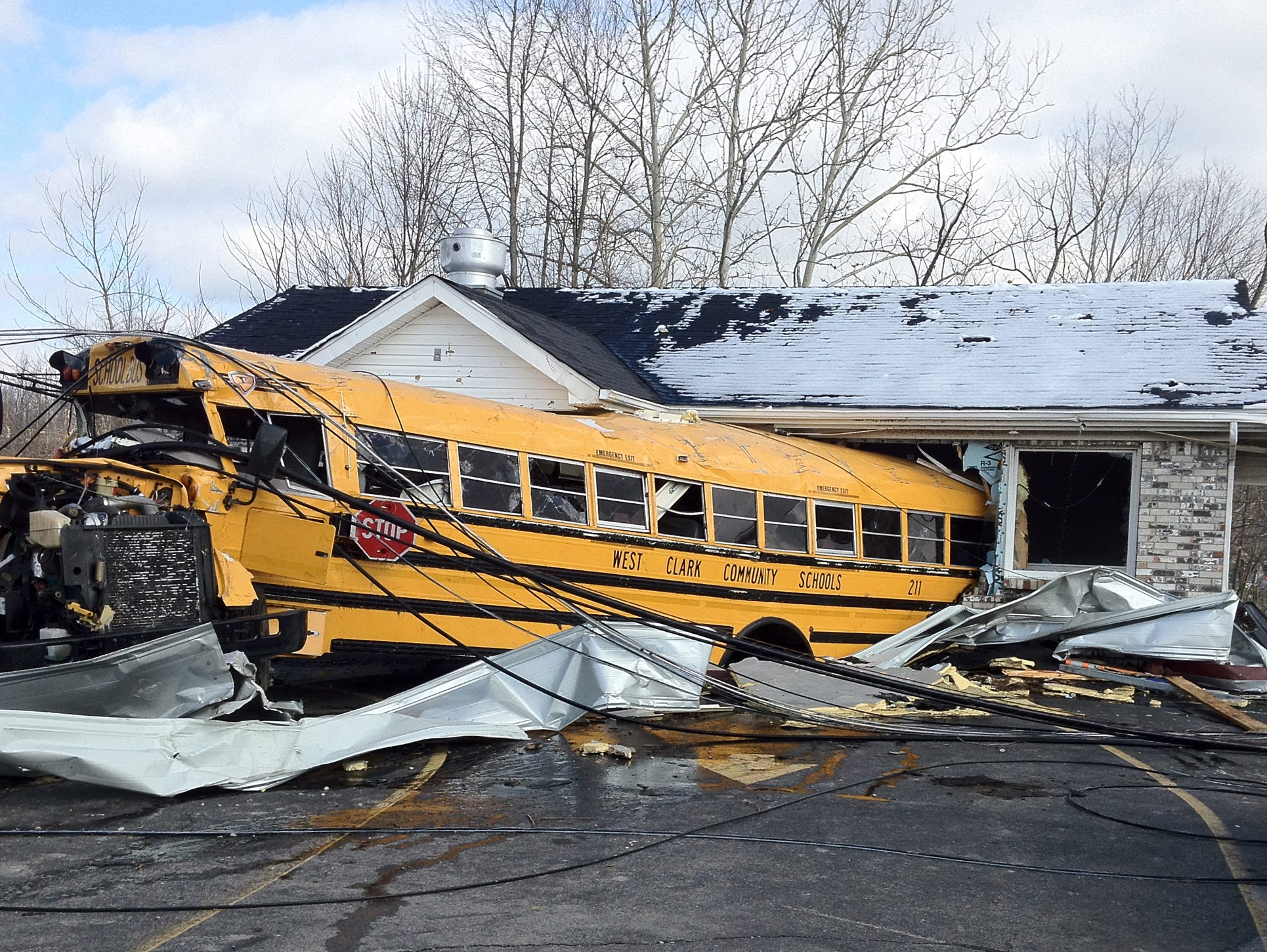 A Henryville High School bus was blown into Budroe's Restaurant, March 2, 2012.