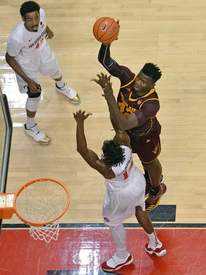 Dec 10, 2016: Arizona State Sun Devils forward Jethro Tshisumpa (42) shoots as San Diego State Aztecs forward Zylan Cheatham (bottom) defends and guard Jeremy Hemsley (42) looks on during the first half at Viejas Arena at Aztec Bowl.