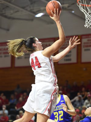 Marist College's Tori Jarosz takes a layup against Delaware in McCann Arena on Nov. 19. Jarosz and the Red Foxes host Monmouth Sunday.