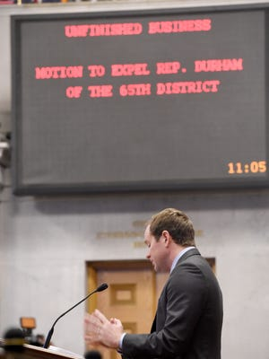 Rep. Jeremy Durham speaks during proceedings to consider his expulsion from the House on Tuesday morning.