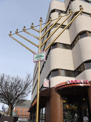 A view of the Hanukkah menorah set up on the corner of Main and Market Street in the City of Poughkeepsie.