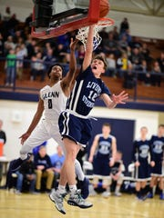 Going up for a rebound during Monday's Class A boys