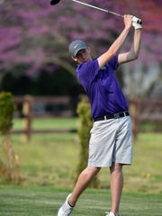 Hagerstown's Kyle Cochran tees off in the annual Bob Van Pelt/Justin Cross golf invitational Saturday, April 15, 2017 at Elks Country Club