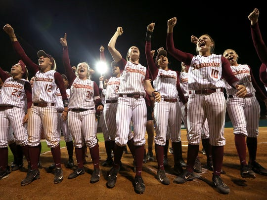 The Florida State softball team celebrates its walk-off win over Florida in front of a record crowd of 2,509 at JoAnne Graf Field on Wednesday.
