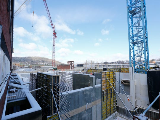 A view of the construction at the Binghamton Johnson