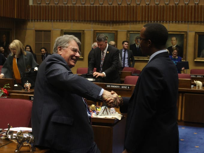 Senate President Steve Yarbrough shakes hands with