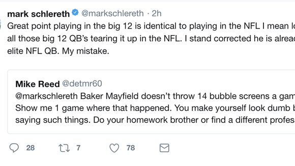 Baker Mayfield kindly asks Mark Schlereth to stop subtweeting him