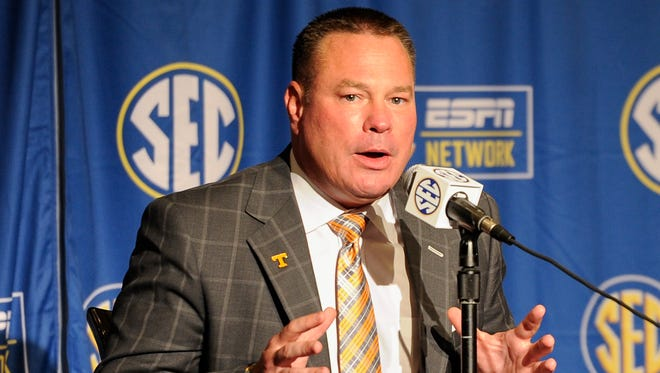 University of Tennessee head coach Butch Jones addresses the media during SEC Media Days at The Wynfrey Hotel in Hoover, Ala. on Monday, July 10, 2017.