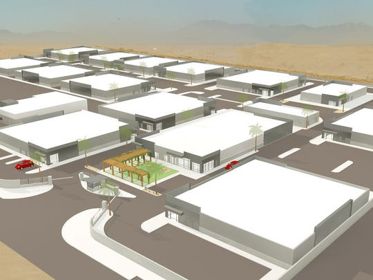 An architect's rendering of Del-Gro, a planned marijuana