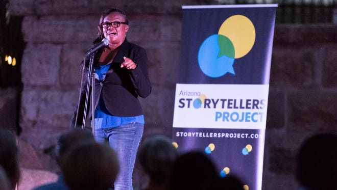 Alexus Rhone, Associate Producer at Storytellers Brand Studio, co-hosted the Arizona Storytellers: Growing Up at the AZ Heritage Center at Papago Park in Tempe on May 2, 2017.