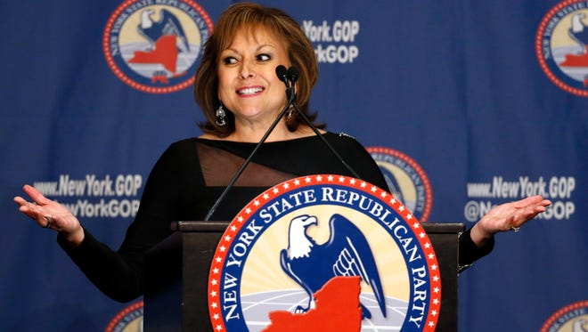 New Mexico Governor Susana Martinez speaks during the New York Republican State Committee Annual Gala Thursday, April 14, 2016, in New York. Martinez has yet to endorse any candidate.