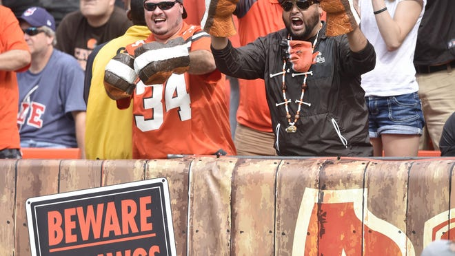Fans cheer in the Dawg Pound end zone seats during a 2017 NFL game between the Cleveland Browns and the New York Jets in Cleveland. Vern Phillips, a Cleveland native who now lives in Cherokee County, is attempting to form a Browns Backers chapter in Gadsden, Etowah County and Northeast Alabama, fueled by the hiring of Attalla's Freddie Kitchens as the team's coach. Those interested can come to Jefferson's on Broad Street at 3 p.m. Saturday to watch the Browns meet the Indianapolis Colts in a preseason game.