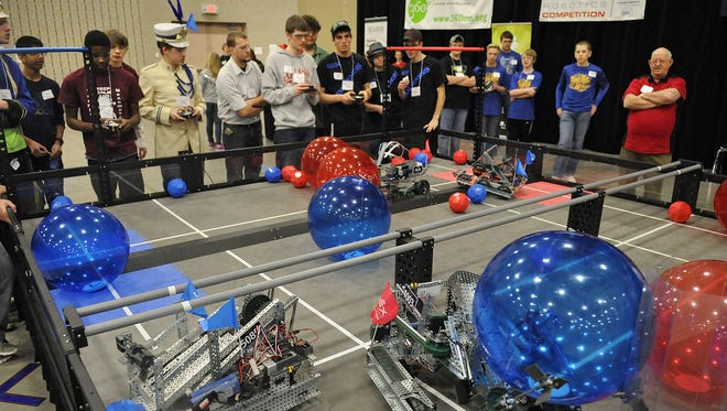 Teams compete during last year's VEX Robotics competition at the River's Edge Convention Center in St. Cloud. Teams compete during last year's VEX Robotics Competition at the River's Edge Convention Center in St. Cloud.