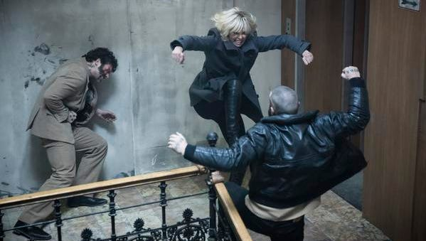 """Charlize Theron, center, in """"Atomic Blonde."""""""