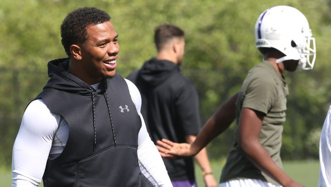 Ray Rice working with football players during a spring practice at New Rochelle High School  High School June 2, 2017.