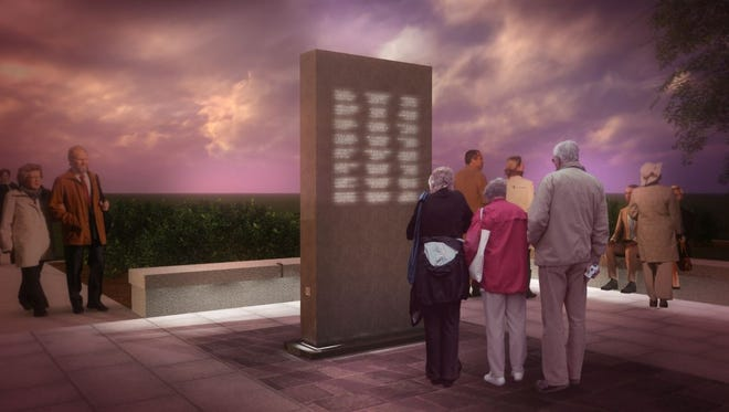 This image from the Michigan Law Enforcement Memorial Monument Commission shows an artist's rendering for a planned monument to fallen police officers in downtown Lansing.
