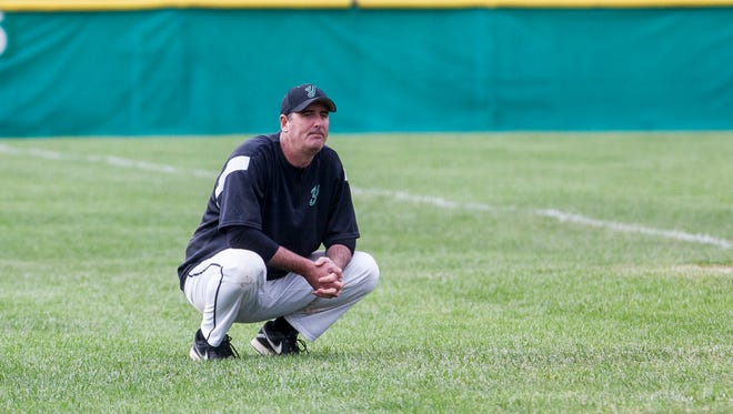 Yorktown coach Mike Larrabee, shown here in a 2015 sectional game against Central, resigned after 14 seasons as head coach and 23 on staff.